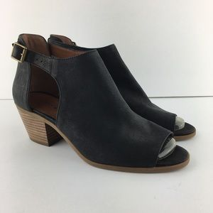 Lucky Brand Black Barimo Cut Out Booties Sz 9.5